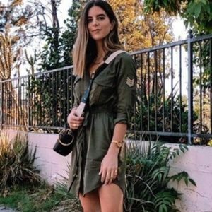 Khaki Sphere Long Sleeve Shirt Dress